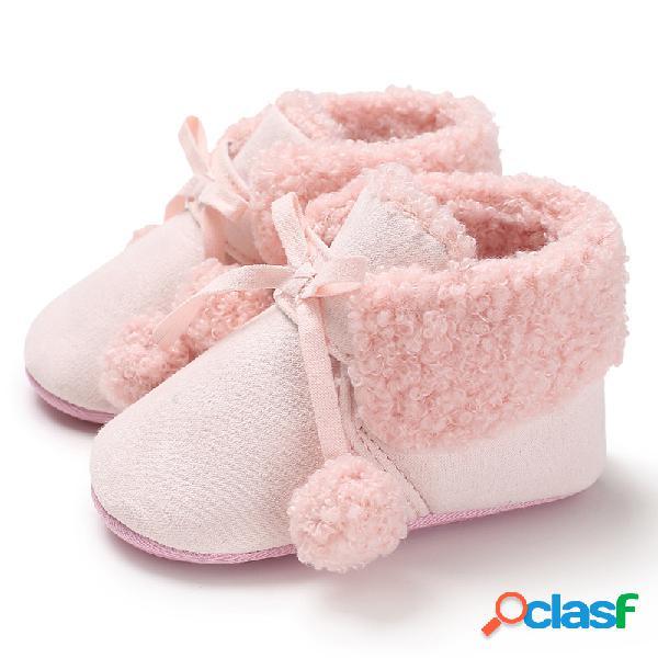 Sapatos para bebês meninas meninas e meninos bonitos com pompons de pelúcia soft sola antiderrapante botas quentes de neve