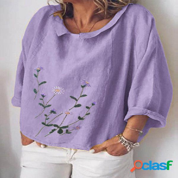 Blusa de manga comprida estampada floral com decote em o para mulheres