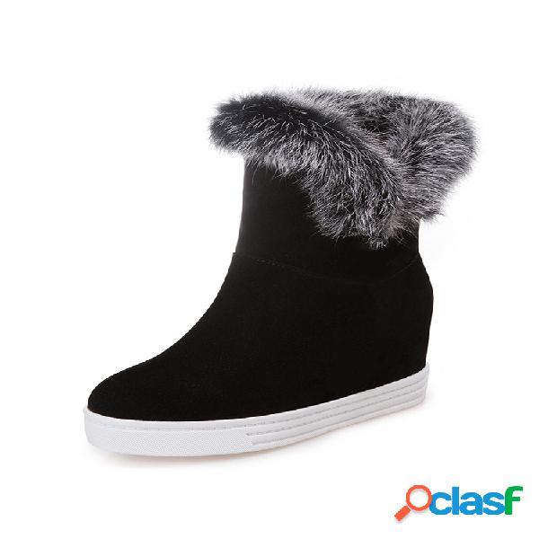 Botas femininas de tamanho grande redondo dedo do pé redondo cor sólida casual de pelúcia quente neve