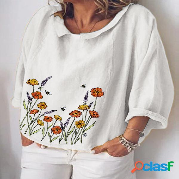 Blusa de manga 3/4 estampada floral com decote o para mulheres