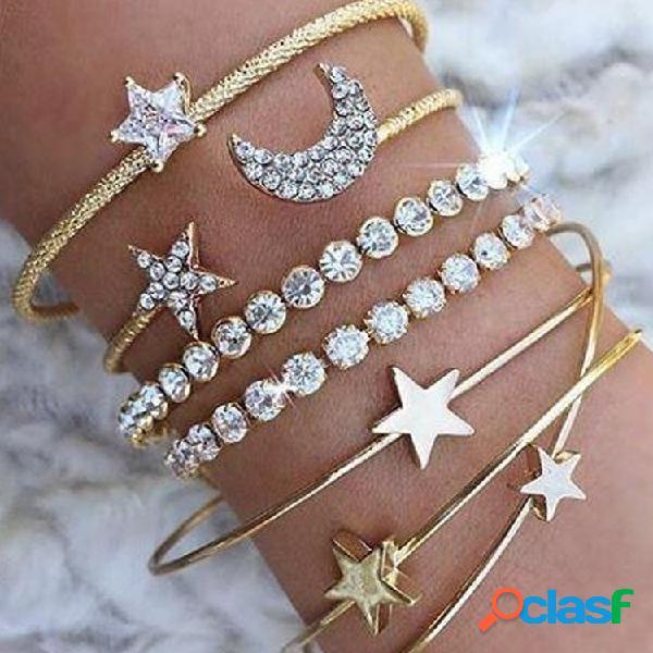 Estrela de metal boêmio lua strass pulseira ajustável pêssego geométrico coração estrela de cinco pontas pulseira de multicamadas