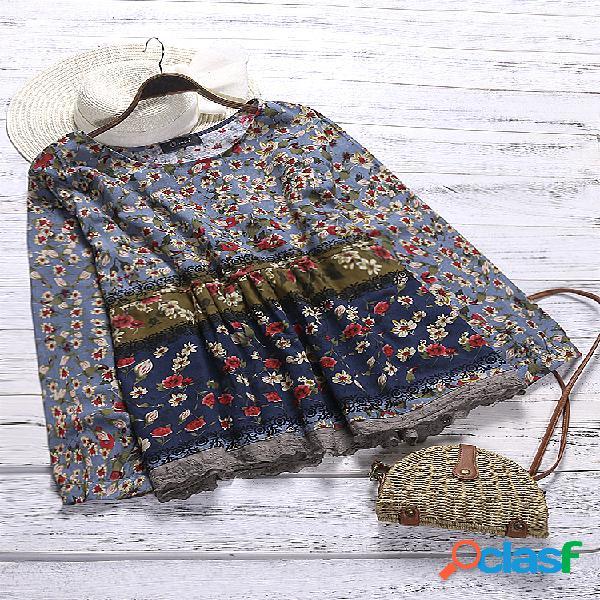Blusa de mangas compridas de retalhos de impressão floral plus blusa de tamanho