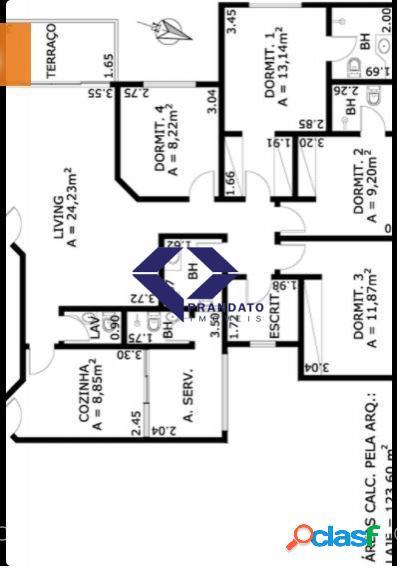 Chacara santo antonio apto com 4 quartos e 5 banheiros à venda, 118 m²
