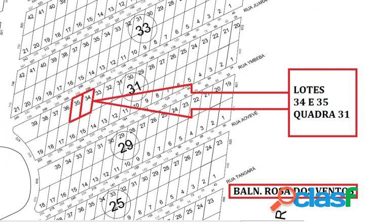 Terrenos para investimento - baln. rosa dos ventos com 375,00 m² cada