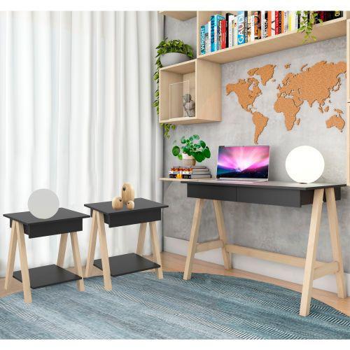 Escrivaninha cavalete e conjunto mesa lateral natural preto