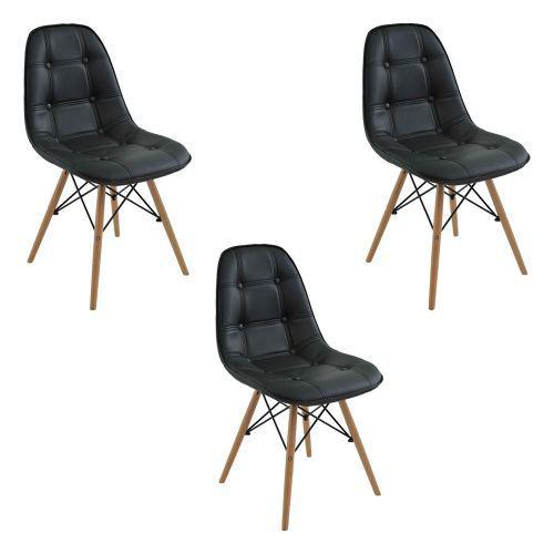 Kit 03 cadeiras decorativas sala e escrit/u00f3rio cadenna