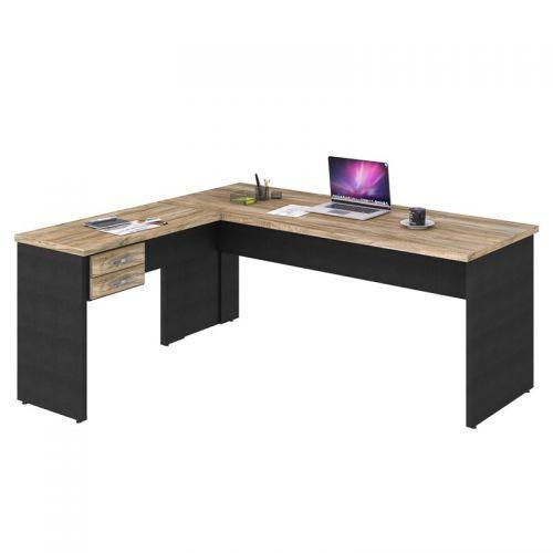 Mesa de escrit/u00f3rio em l 180x160 2 gavetas work c08
