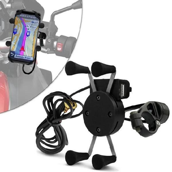 Suporte celular e gps moto universal com carregador usb