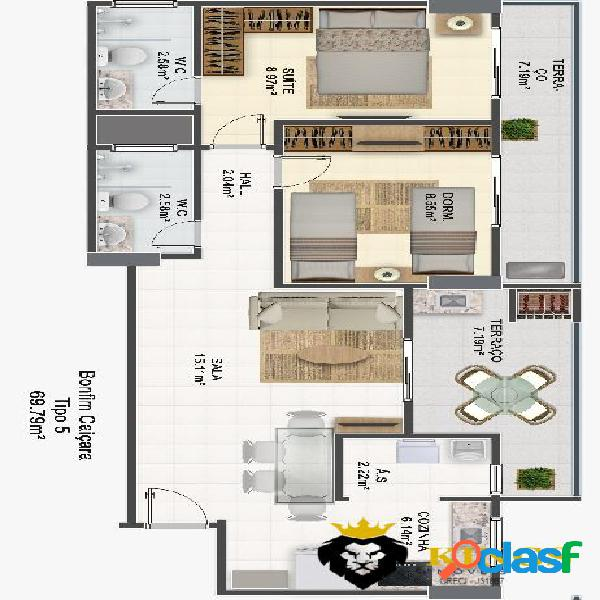 Apartamento com 68m2 com 2 dormitórios com suíte e sacada privativa