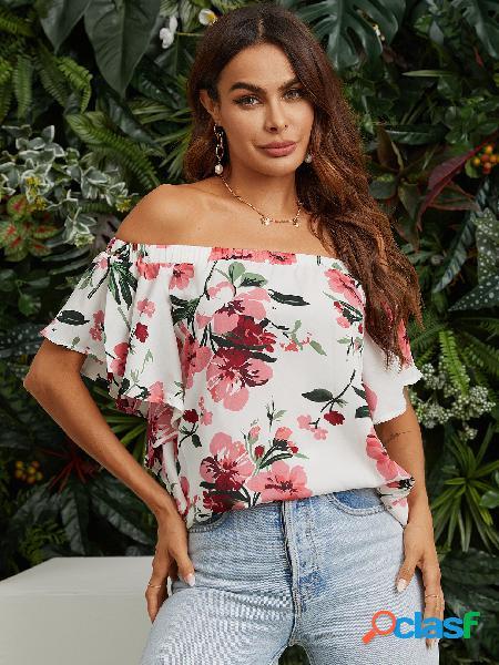 Blusa de manga curta com estampa floral branca fora do ombro