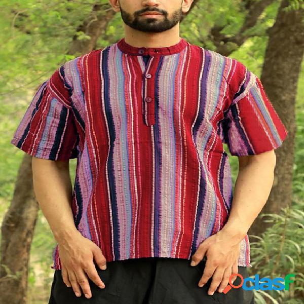 Incerun masculino vintage listrado kurta manga curta camisa