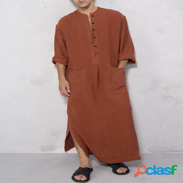 Incerun t-shirt de manto redondo masculino com botão muçulmano