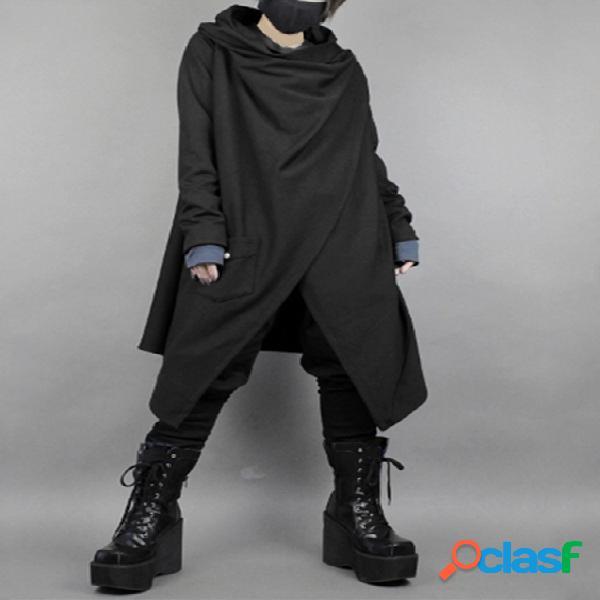 Casaco preto liso masculino estilo japonês irregular de comprimento médio