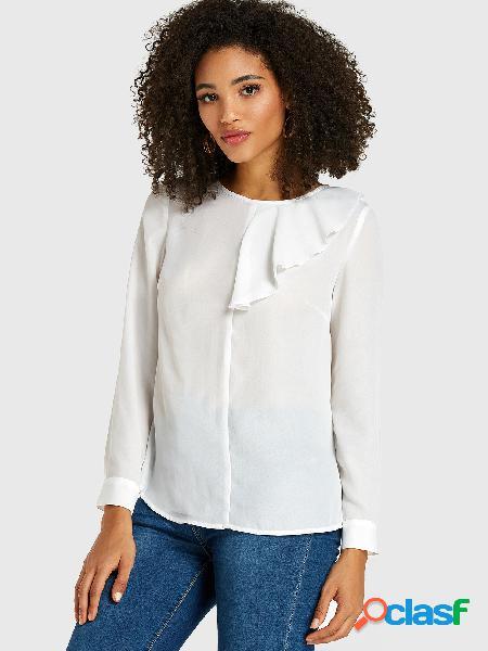 Blusa branca pregueada design mangas compridas