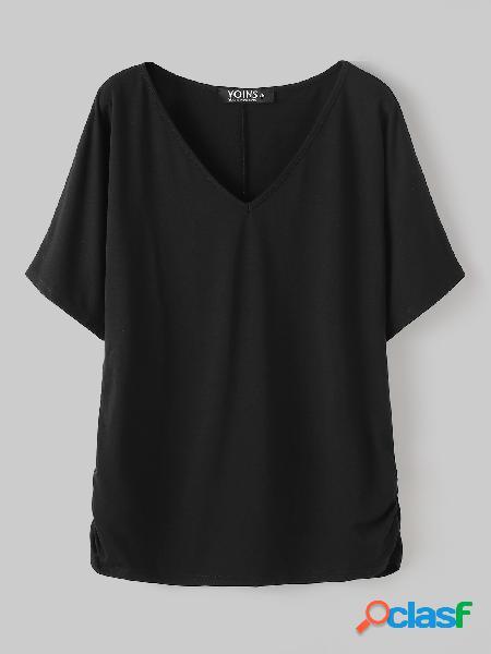 Yoins basics tira elástica preta com decote em v meia manga camiseta estilo básico