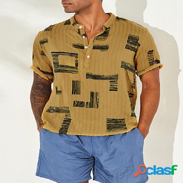 Incerun homens verão casual estampa fina respirável camisa