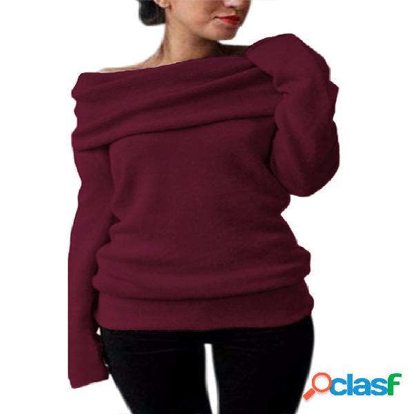 Style dome one camisola de mangas compridas com sobreposição de ombro