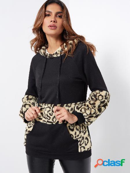 Casaco com capuz preto casual fofo leopardo estampa canguru