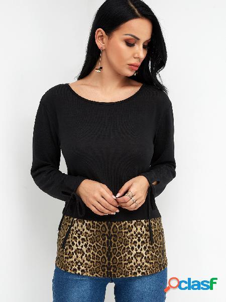 Color block leopardo decote mangas compridas amarradas em camisetas de punho