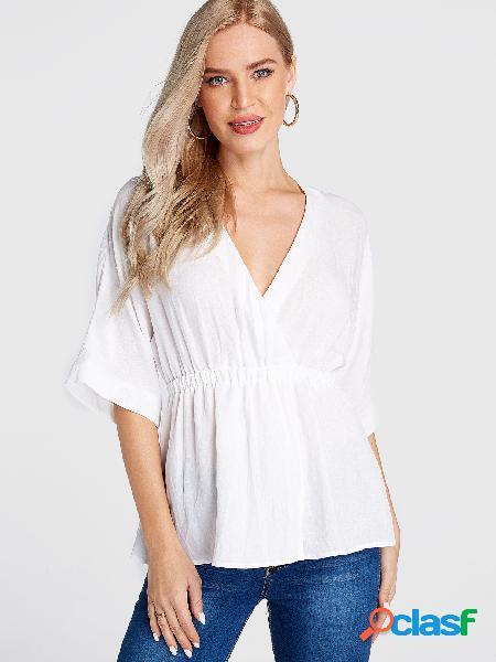 Blusa branca shirring deep decote v meia mangas