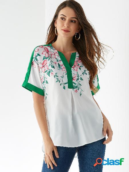 Yoins blusa de manga curta com estampa floral branca aleatória com decote em v