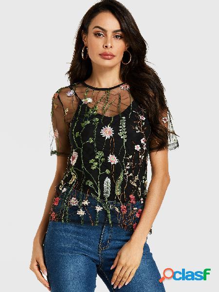 Yoins malha preta floral bordada com forro camiseta
