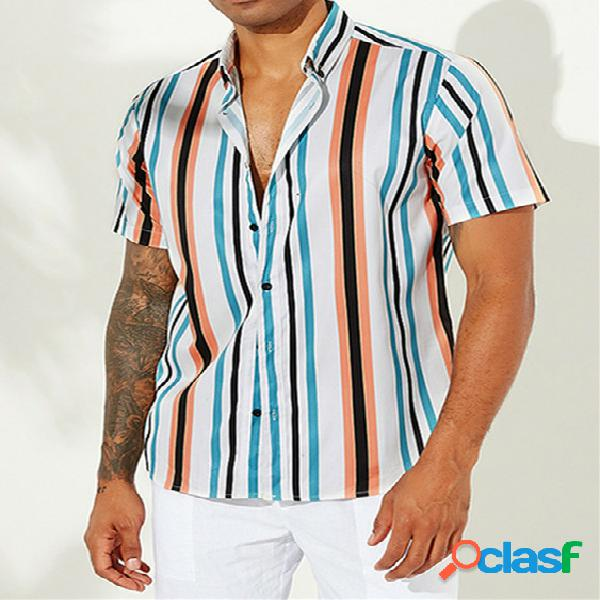 Incerun homens holiday bohemia rainbow striped manga curta camisa
