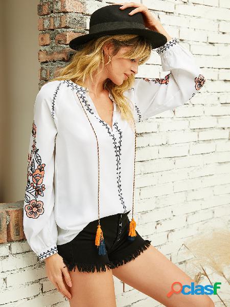 Yoins blusa de manga comprida com estampa floral com alça elástica branca e decote em v