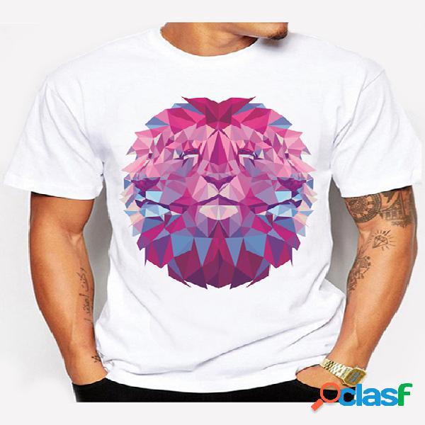T-shirt casual de manga curta masculina com estampa de leão cartoon verão