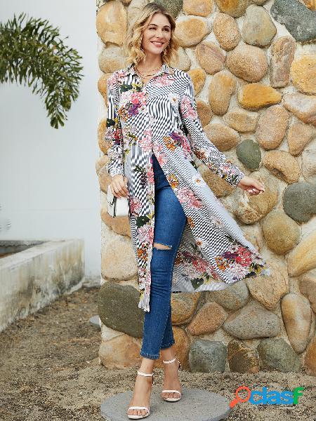 Yoins blusa de mangas compridas listrada com estampa floral aleatória marinho