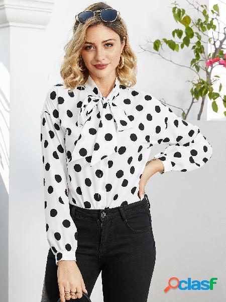 Yoins blusa de manga comprida com bolinhas brancas com bolinhas
