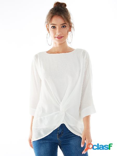 Yoins blusa branca de chiffon dupla camada com gola redonda torcida