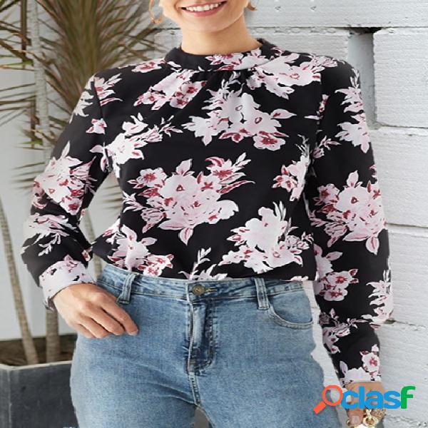 Yoins blusa de colarinho com estampa floral preta aleatória