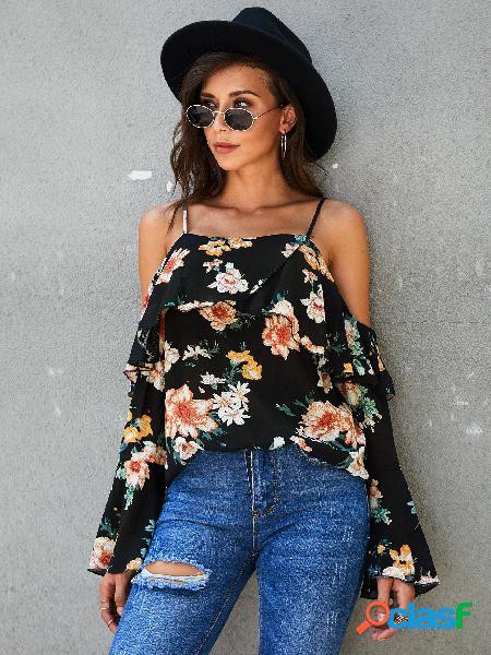 Yoins blusa preta aleatória com estampa floral sem encosto design