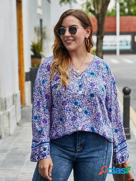 Blusa de mangas compridas tamanho plus decote em v aleatório estampado floral