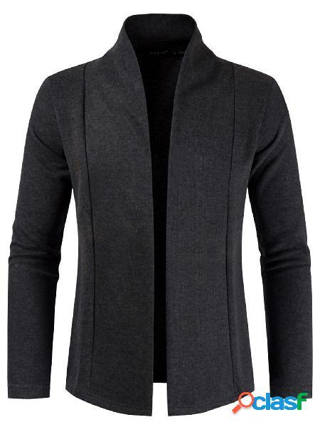 Casaco de lapela casual masculino outono inverno colarinho liso