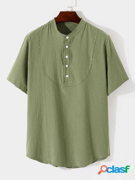 Yoins basics homens casual colarinho cor sólida botão frente camisa