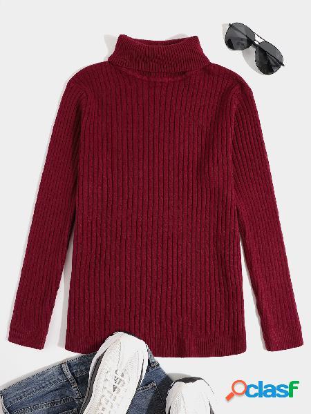 Suéter casual masculino cor sólida malha engrossar gola alta