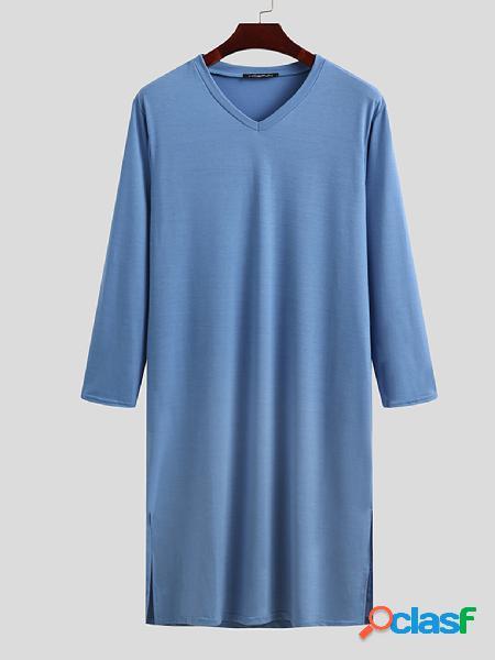Robe de noite confortável de algodão estilo kaftan incerun masculino de manga comprida
