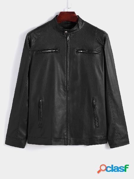 Jaquetas de couro pu com zíper frontal com design de bolso masculino para motociclistas