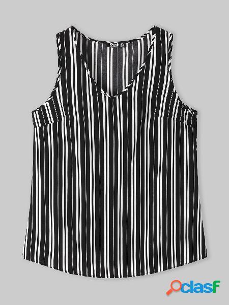Yoins basics plus camiseta com decote em v listrada sem mangas