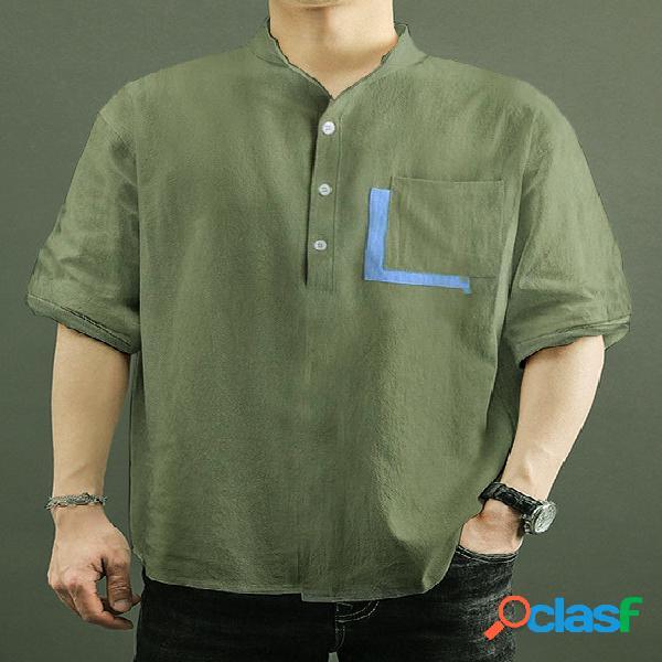 Homem casual colarinho de linho verde liso bolso camisa