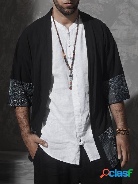Masculino casual algodão soft tribal print protetor solar cardigan frente