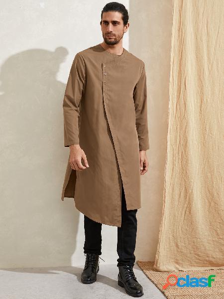 Masculino india kurta cor sólida irregular manga longa camisa