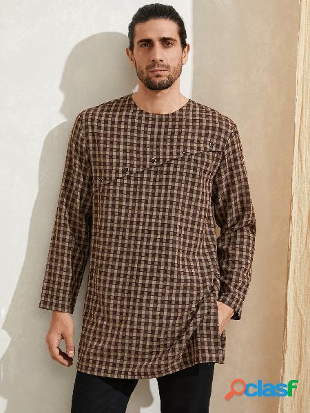 Camisa de comprimento médio estampada masculina casual xadrez