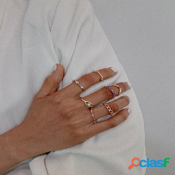 Conjunto de anéis de zircão gold hollow micro-set