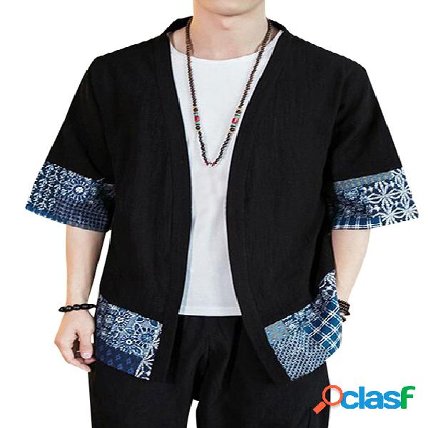 Masculino casual algodão soft protetor solar preto tribal casaco frontal aberto