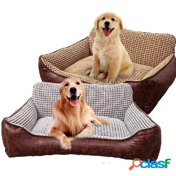 Sofá-cama de couro para animais de estimação de luxo 4 em 1 com cobertor cusion cachorro canil de dormir para gatos four seasons