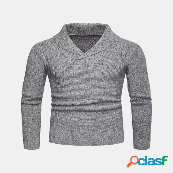 Camisola de manga comprida com decote em v casual collar pullover para homens