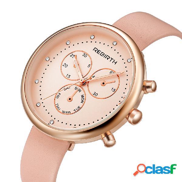 Relógio de pulso de mulheres de estilo casual relógio de couro de quartzo de mulheres de relógio de quartzo